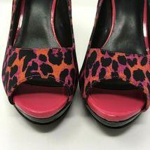 Nine West Open Toe Heel, Size 9, Animal Print, Fushia, Orange, Black image 6