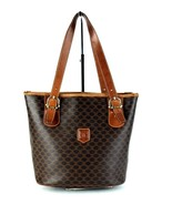 Auth CELINE Macadam Brown Canvas & Leather Tote Bucket Shoulder / Hand B... - $98.01
