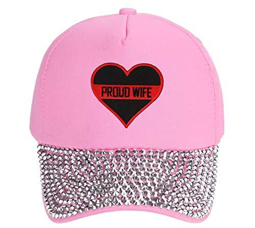 Thin Red Line Proud Wife Hat Pink Rhinestone Cap Firefighters Womens