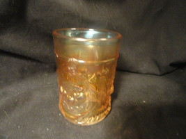 """Vintage Cherries Carnival Glass Tumbler 4"""" Tall Unsigned - $23.99"""