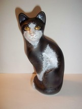 Fenton Glass Black & White Golden Eyed Stylized Cat GSE M. Kibbe Ltd Ed ... - $183.33