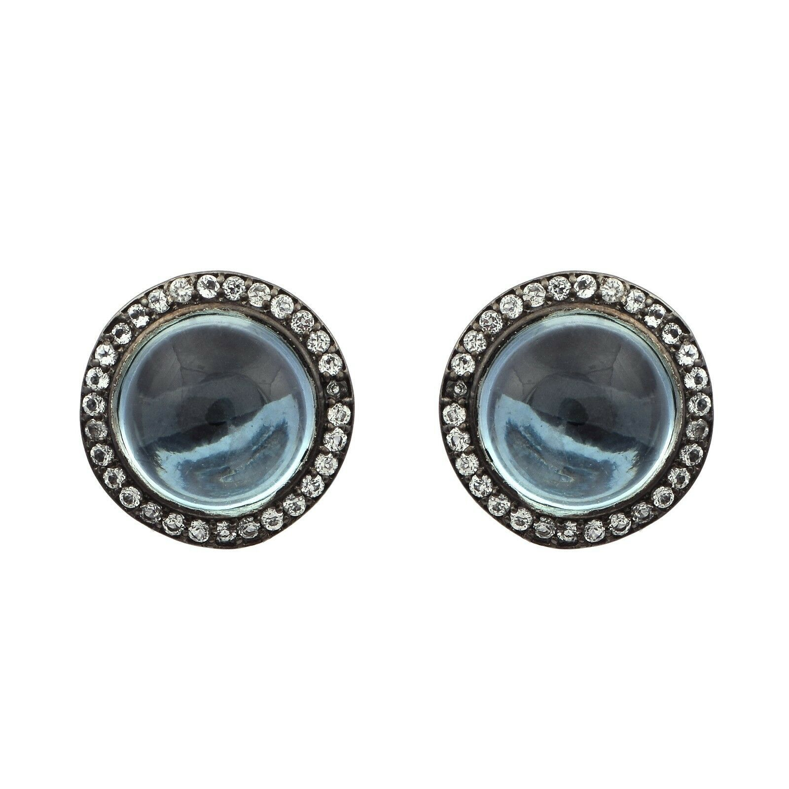 Blue Topaz & White Topaz Stone 925 Silver Halo Black Rhodium Women Stud Earring