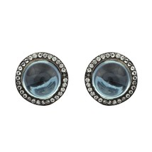 Blue Topaz & White Topaz Stone 925 Silver Halo Black Rhodium Women Stud ... - $63.88