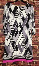 NWT! Eliza J Contrast Hem Geometric Shift Dress - Size 10 $118 MFSRP