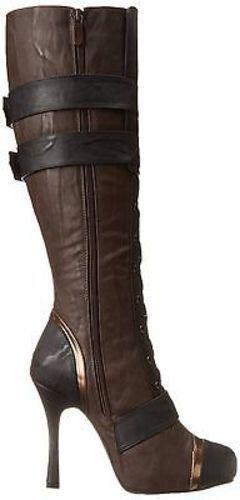 "Ellie 420-Quinley Sailor Combat Lace Up Steampunk Gears Rock 4/"" Heel Boots Shoes"