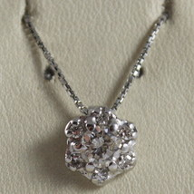 SOLID 18K WHITE GOLD NECKLACE, FLOWER, SUN WITH DIAMONDS, DIAMOND MADE I... - $2,750.00