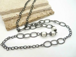 Long Gunmetal Silver Chain White Faux Pearl Bead Necklace GG47 - $14.44