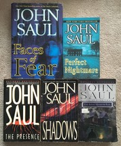 Lot John Saul Horror: Presence, Shadows, Nightmare, Hand of Evil, Faces ... - $9.50