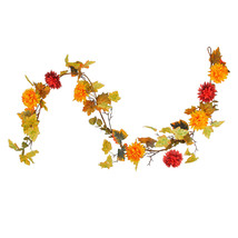 6' Autumn Harvest Red and Yellow Mixed Fall Leaf and Mum Flower Thanksgi... - $19.59