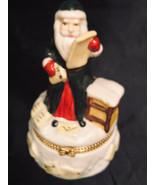 "Porcelain Hinged Box Santa Claus 4-1/2"" - $12.60"