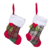Darice Christmas Mini Stocking Ornament: 3 x 6 inches, 2 Assorted Styles w - $6.99