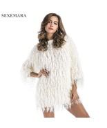 SEXEMARA Fluffy Tassel Loose Sweater Dress 2018 Winter Pullover Women El... - $72.84