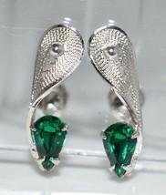 VTG Sterling Silver .925 Green Rhinestone Floral Flower Screwback Earrings - $29.70