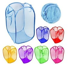 Rainbow Love 6pcs Foldable Pop Up Mesh Washing Laundry Basket Bag Bin Ha... - $22.58