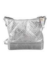 AUTH Chanel Large Gabrielle Quilted Leather Silver Hobo Bag GHW image 1