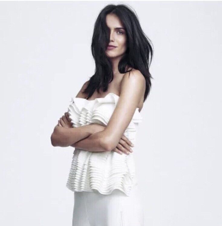 Primary image for EDDY ANEMIAN - H&M DESIGN AWARD 2014 WHITE RUFFLE TOP WEDDING BRIDAL SZ M