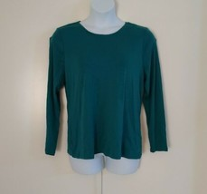 Charter Club Women's Long Sleeve Scoop Neck Pullover Dusty Real Green To... - $18.48