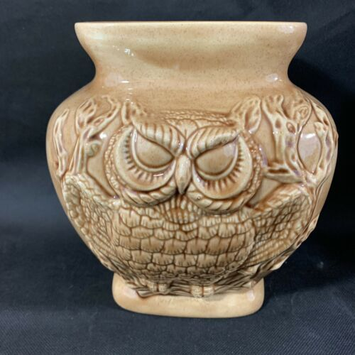 "VTG 80's Brown Glazed Owl Decorated 8"" Tall Vase Or Planter"