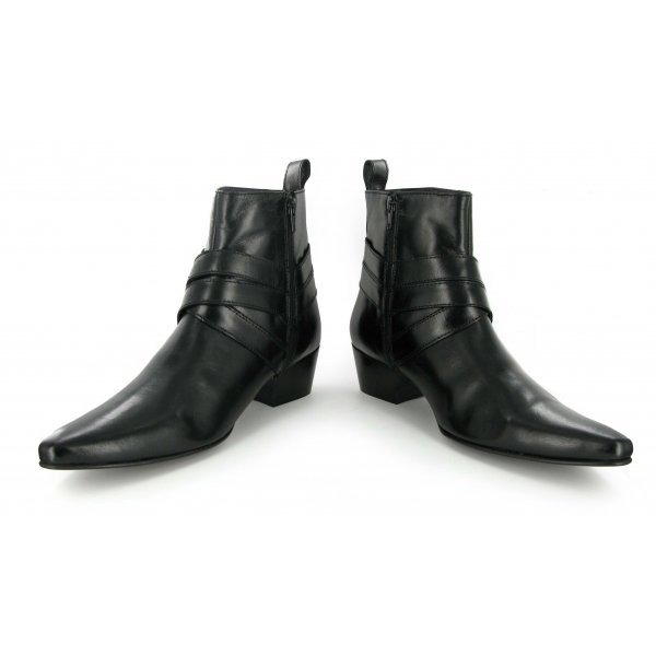 Handmade mens Cuban heel leather boots, Men's fashion pointed toe leather Boots