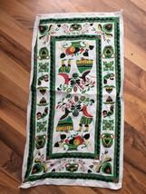Vintage Pennsylvania Dutch Print Linen Kitchen Tea Towel Wall Hanging - $18.69