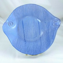 "Aqua Blue Fish Shape Candy Dish Plate Heavy Glass Design Glossy Front 10½"" - $16.95"