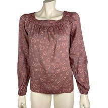 Womens Lauren Conrad XS Mauve Pink Heart Print Blouse Peasant NWT - $14.84