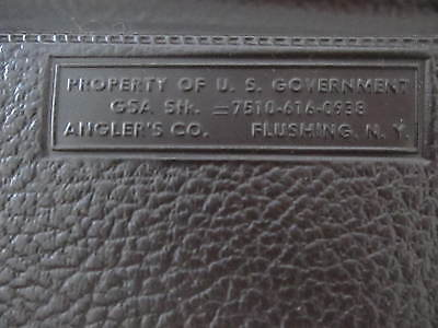 Vintage Property of US Government Bag Briefcase Angler's Co Case Flushing, N.Y.