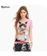 Qybian Brand 3D T Shirt Women Grumpy Cat Printed Short Sleeve T-Shirt Wo... - $30.00