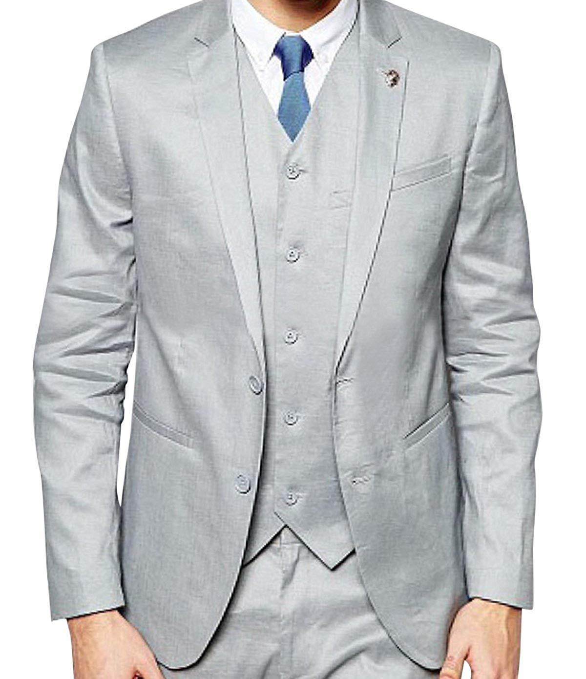 Formal wear slim fit light grey 3 piece tuxedo suit