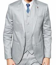 Mens Formal Wear Slim Fit Light Grey 3 Piece Tuxedo Suit image 1