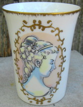 Andrea by Sadek Bathroom Ceramic Glass w Victorian Girl Painted on Front - $18.00