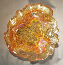 Vtg Indiana Glass Loganberry Marigold Carnival Glass Bon Bon Bowl (circa... - $18.00