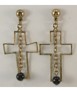 Light Weight Gold Colored Cross with Dangle Black Bead Pierced Earrings ... - $12.75