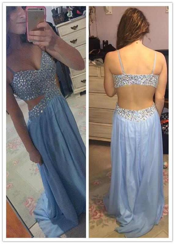 blue Prom Dresses,long prom dress,open back prom Dress,charming prom dresses