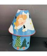 "Christmas Metal Angel Lamp Shade Candle Holder Set Noel 4"" Jar Flameless... - $29.69"