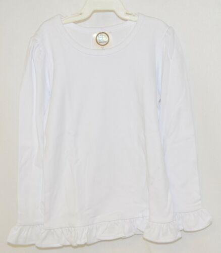 Blanks Boutique Girls White Long Sleeve Ruffle Tee Shirt 5T