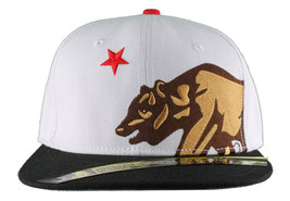 Dissizit! Side Bear White Black Brim Snapback Cap Hat California Star Flag image 1