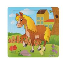 Kids Children Wooden Jigsaw Puzzle Toys  Learning Education Cartoon Anim... - $3.00