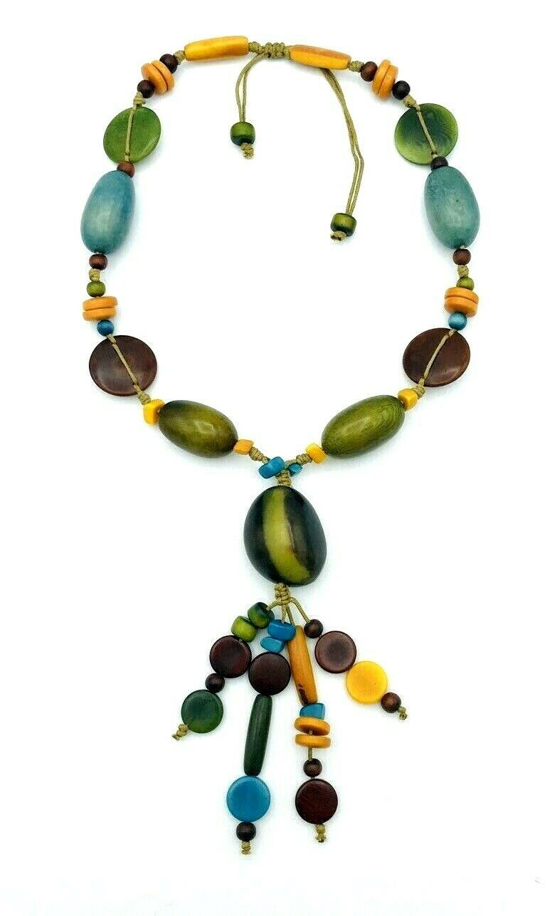 Vintage 70's Multi Color Dyed Wooden Bead BOHO Necklace - $21.78