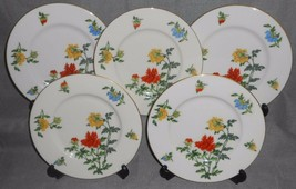 Set (5) Castleton China MA LIN PATTERN Salad Plates GOLD TRIM Made in USA - $47.51