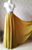 Yellow Rust Maxi Chiffon Skirt Outfit Floor Length Bridesmaid Chiffon Skirt image 3
