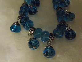 Vintage Light Blue Glass Bead Dangling Silver Bracelet Costume Fashion J... - $10.66