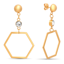 STEELTIME 18K Gold Plated Stainless Steel hexagonal drop earrings adorned - $22.99