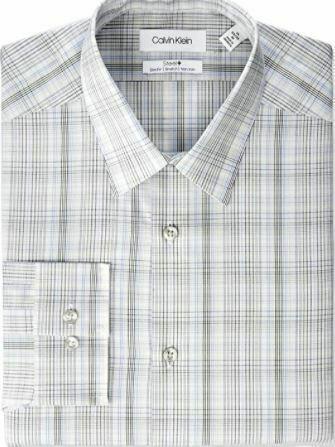 Calvin Klein Men's Dress Shirt Slim Fit Non Iron Stretch Beige Multi SEALED!!!