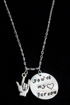 Youre my person necklace,ASL Jewelry, Grey's Anatomy,ASL Necklace,You're My Pers - $15.60