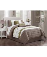 7P Faiza Moroccan Trellis Floral Pleated Comforter Set Taupe Sage Off-Wh... - $86.94
