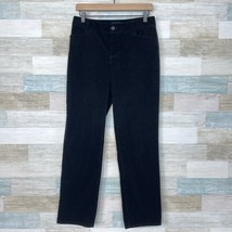 Talbots Straight Leg Corduroy Pants Black Mid Rise Stretch Casual Womens 4 - $29.69
