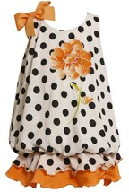 Bonnie Jean Little Girl 2T-6X Sequin Flower Polka Dot Knit Bubble Dress