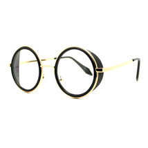Double Rim Clear Lens Glasses Side Cover Round Circle Frame UV 400 - $9.95