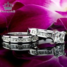 Princess Cut CZ Engagement Band Bridal Set White Gold Plated 925 Sterling Silver - $86.99